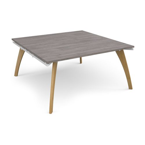 Fuze square boardroom table 1600mm x 1600mm - white frame and grey oak top