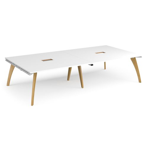 Fuze rectangular boardroom table 3200mm x 1600mm with 2 cutouts 272mm x 132mm - white frame and white top