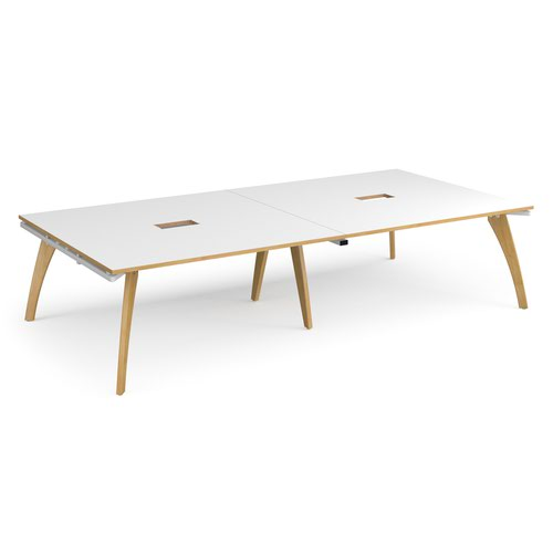 Fuze rectangular boardroom table 3200mm x 1600mm with 2 cutouts 272mm x 132mm - white frame and white top with oak edge