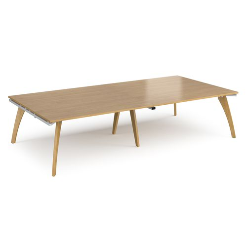 Fuze rectangular boardroom table 3200mm x 1600mm - white frame and oak top