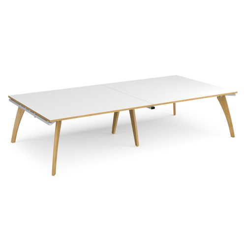 Fuze rectangular boardroom table 3200mm x 1600mm - white frame and white top with oak edging