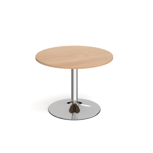 Genoa circular dining table with chrome trumpet base 1000mm - beech