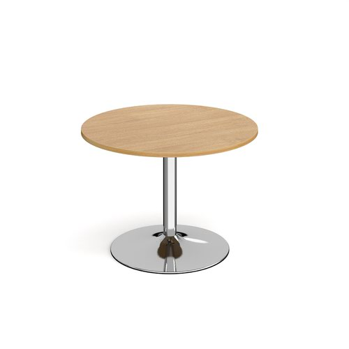 Genoa circular dining table with chrome trumpet base 1000mm - oak