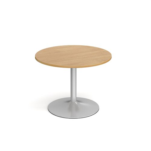Genoa circular dining table with silver trumpet base 1000mm - oak