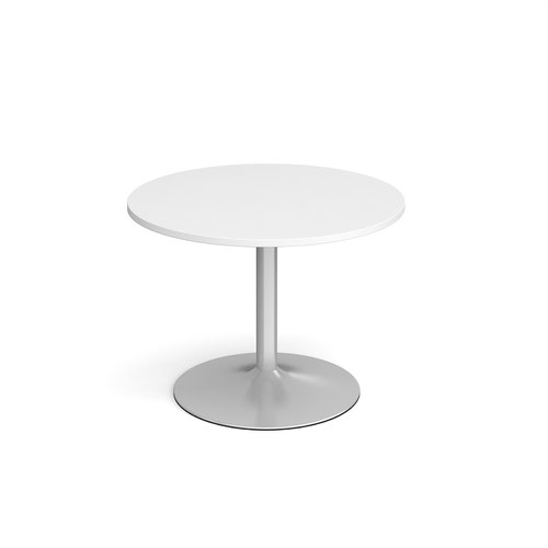 Genoa circular dining table with silver trumpet base 1000mm - white
