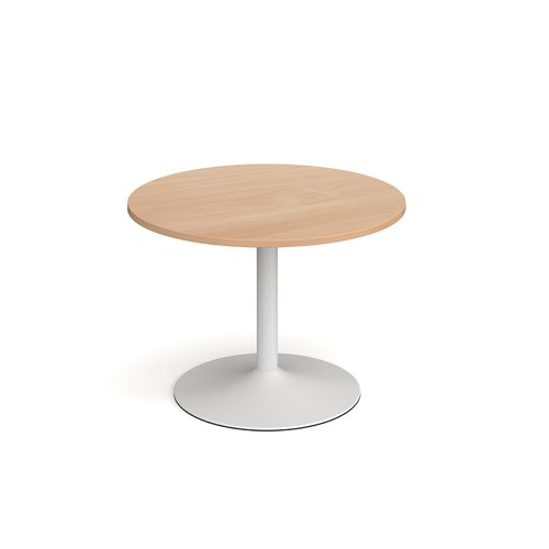 Genoa circular dining table with white trumpet base 1000mm - beech