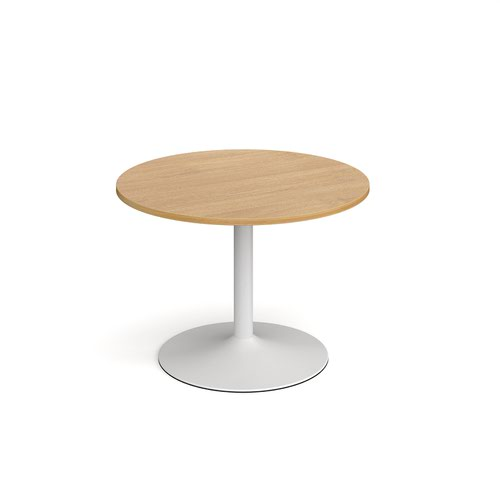 Genoa circular dining table with white trumpet base 1000mm - oak