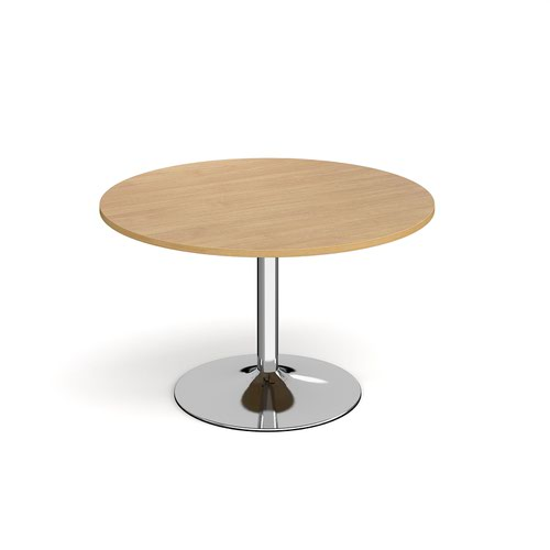 Genoa circular dining table with chrome trumpet base 1200mm - oak