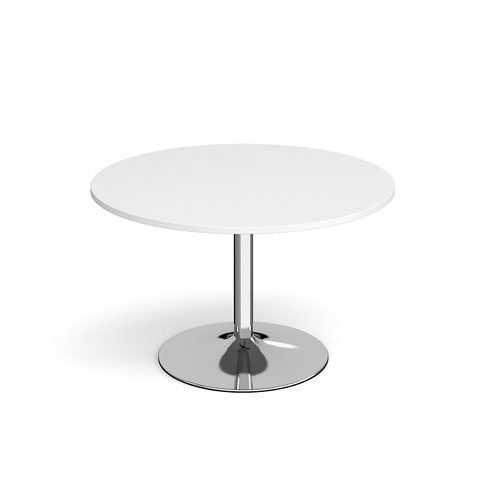 Genoa circular dining table with chrome trumpet base 1200mm - white
