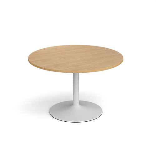Genoa circular dining table with white trumpet base 1200mm - oak
