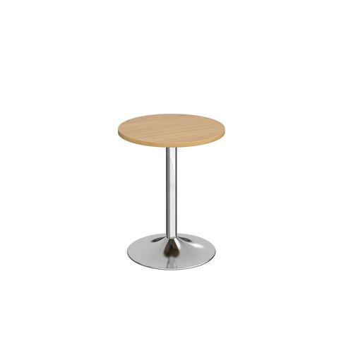 Genoa circular dining table with chrome trumpet base 600mm - oak