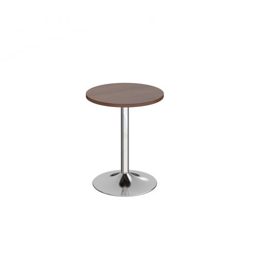Genoa circular dining table with chrome trumpet base 600mm - walnut