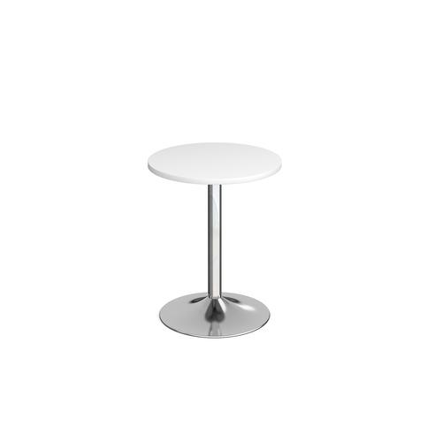Genoa circular dining table with chrome trumpet base 600mm - white