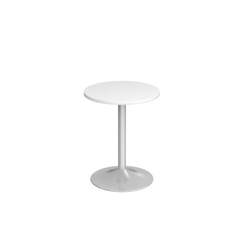 Genoa circular dining table with silver trumpet base 600mm - white