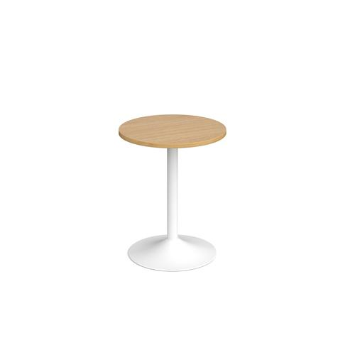 Genoa circular dining table with white trumpet base 600mm - oak