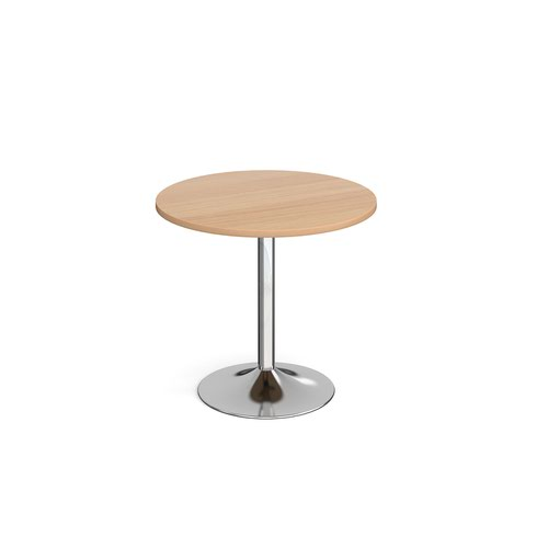 Genoa circular dining table with chrome trumpet base 800mm - beech