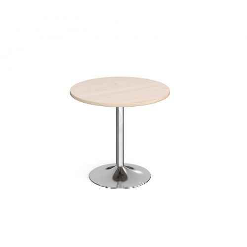 Genoa circular dining table with chrome trumpet base 800mm - maple