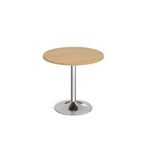 Genoa circular dining table with chrome trumpet base 800mm - oak