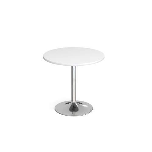Genoa circular dining table with chrome trumpet base 800mm - white