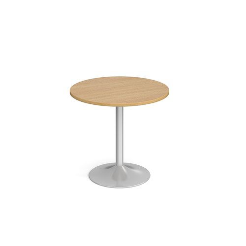 Genoa circular dining table with silver trumpet base 800mm - oak