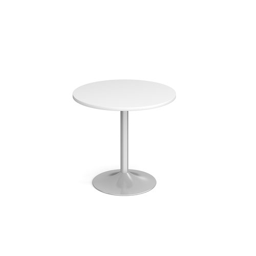 Genoa circular dining table with silver trumpet base 800mm - white