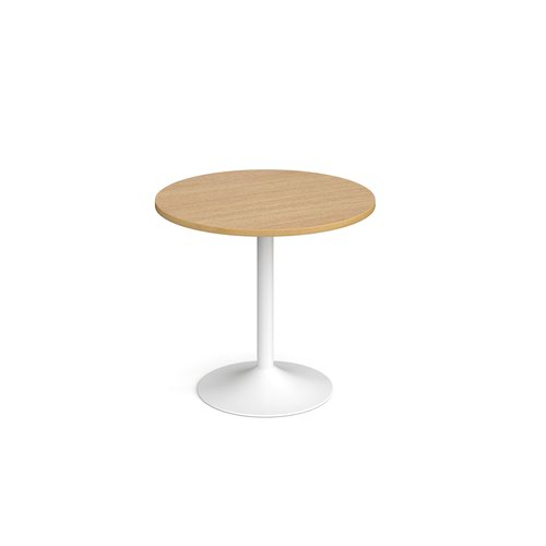 Genoa circular dining table with white trumpet base 800mm - oak