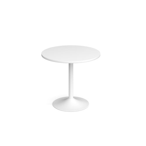 Genoa circular dining table with white trumpet base 800mm - white