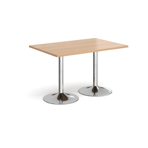 Genoa rectangular dining table with chrome trumpet base 1200mm x 800mm - beech