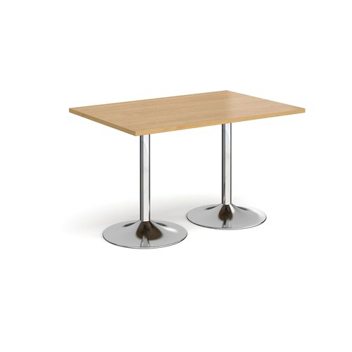 Genoa rectangular dining table with chrome trumpet base 1200mm x 800mm - oak