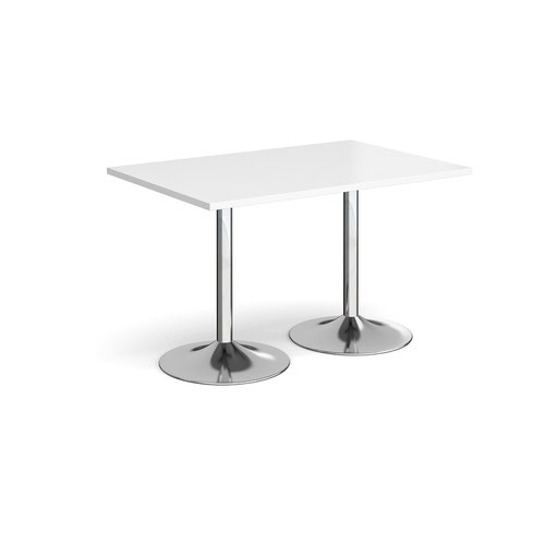 Genoa rectangular dining table with chrome trumpet base 1200mm x 800mm - white