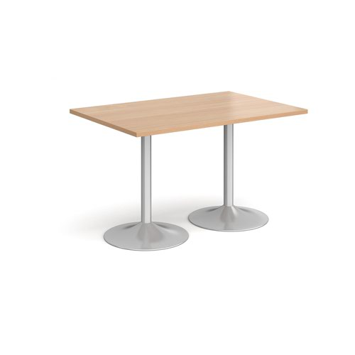 Genoa rectangular dining table with silver trumpet base 1200mm x 800mm - beech
