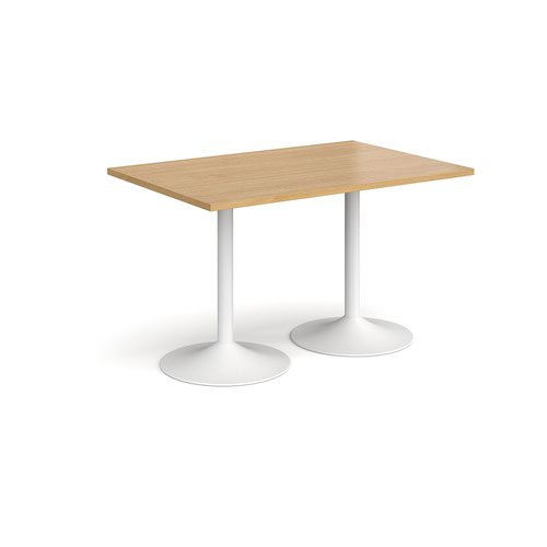 Genoa rectangular dining table with white trumpet base 1200mm x 800mm - oak