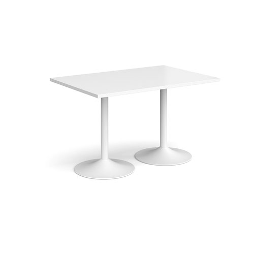 Genoa rectangular dining table with white trumpet base 1200mm x 800mm - white