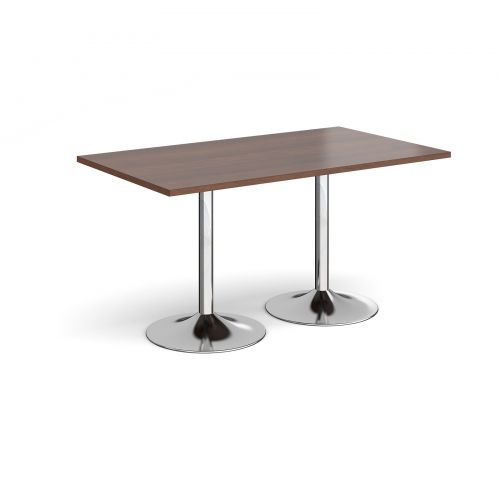 Genoa rectangular dining table with chrome trumpet base 1400mm x 800mm - walnut