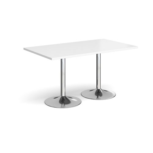 Genoa rectangular dining table with chrome trumpet base 1400mm x 800mm - white