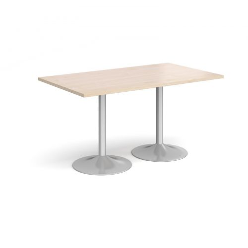 Genoa rectangular dining table with silver trumpet base 1400mm x 800mm - maple