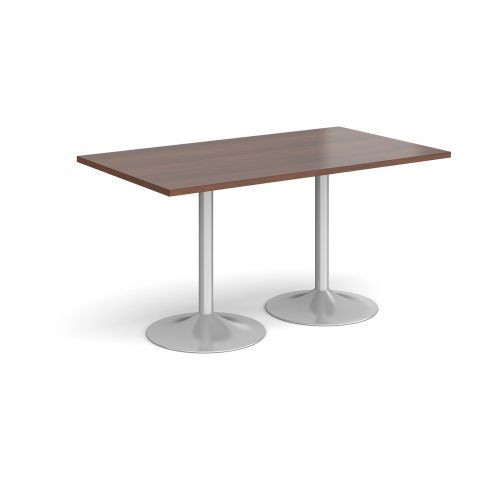 Genoa rectangular dining table with silver trumpet base 1400mm x 800mm - walnut