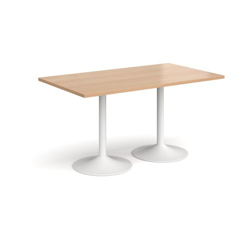 Genoa rectangular dining table with white trumpet base 1400mm x 800mm - beech