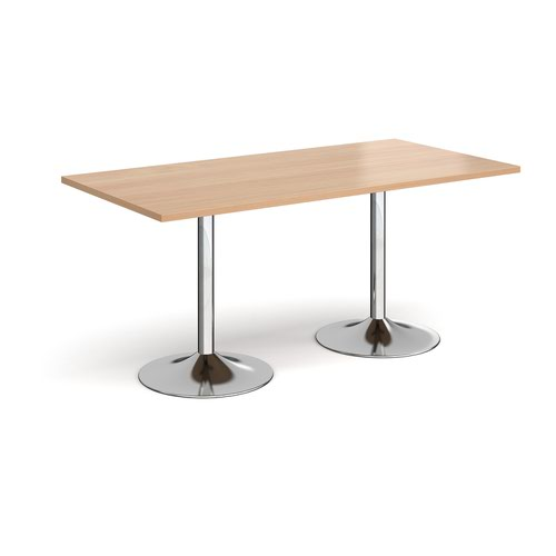Genoa rectangular dining table with chrome trumpet base 1600mm x 800mm - beech