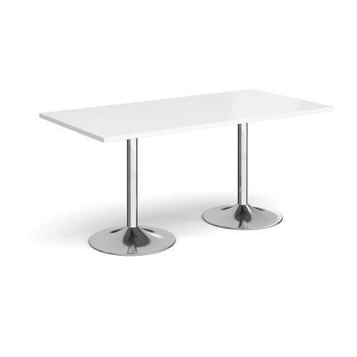 Genoa rectangular dining table with chrome trumpet base 1600mm x 800mm - white