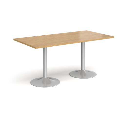Genoa rectangular dining table with silver trumpet base 1600mm x 800mm - oak