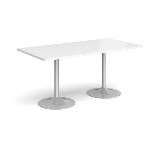 Genoa rectangular dining table with silver trumpet base 1600mm x 800mm - white