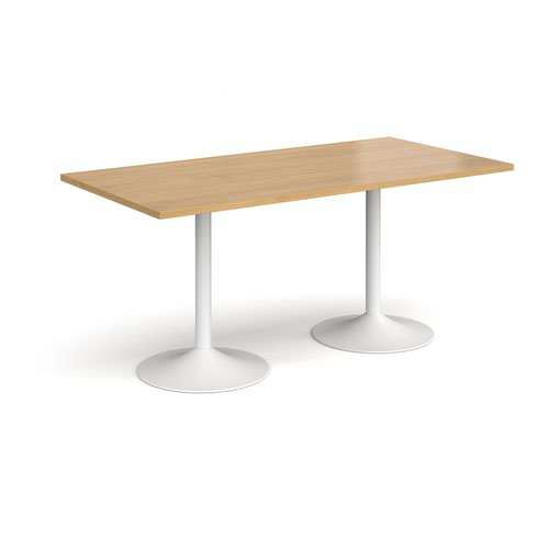 Genoa rectangular dining table with white trumpet base 1600mm x 800mm - oak