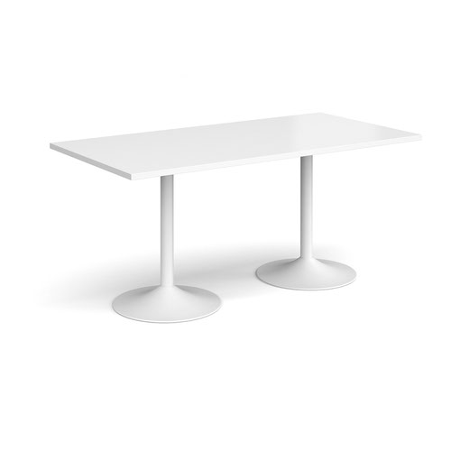 Genoa rectangular dining table with white trumpet base 1600mm x 800mm - white