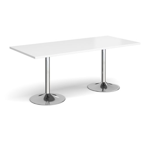 Genoa rectangular dining table with chrome trumpet base 1800mm x 800mm - white