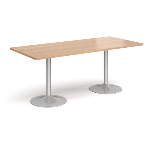 Genoa rectangular dining table with silver trumpet base 1800mm x 800mm - beech