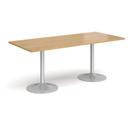 Genoa rectangular dining table with silver trumpet base 1800mm x 800mm - oak
