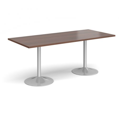 Genoa rectangular dining table with silver trumpet base 1800mm x 800mm - walnut
