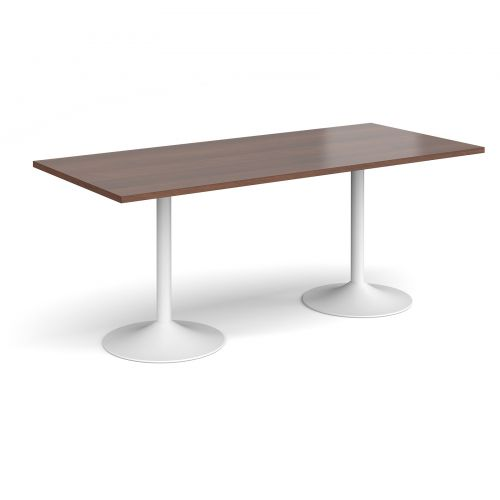 Genoa rectangular dining table with white trumpet base 1800mm x 800mm - walnut