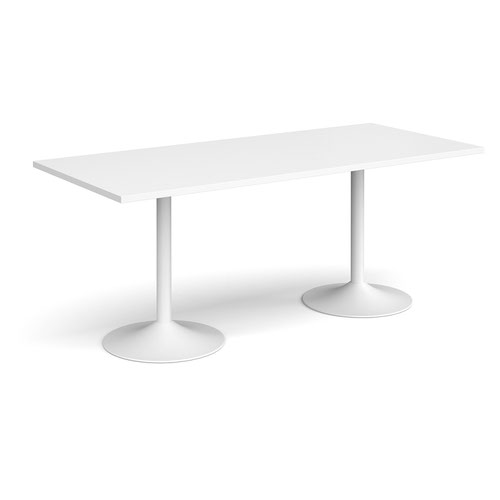 Genoa rectangular dining table with white trumpet base 1800mm x 800mm - white